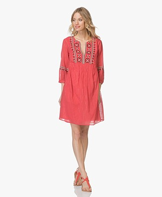 ba&sh Agda Embroidered Voile Dress - Red