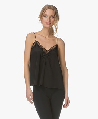 Ba&sh Songe Camisole in Pure Silk - Black
