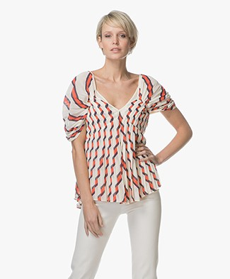 By Malene Birger Wellis Pleated Blouse with Print - Angora