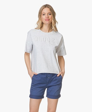 Closed Short Sleeved Sweatshirt - Light Grey Melange