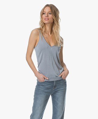 Drykorn Minka Knitted V-neck Top - Greyish Blue