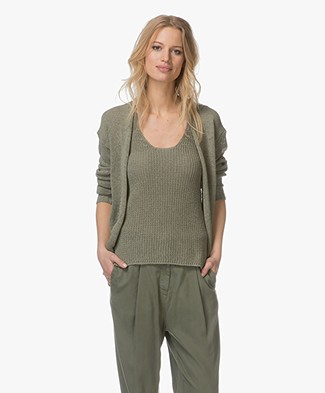 Indi & Cold Open Cardigan in Cotton Blend - Militar