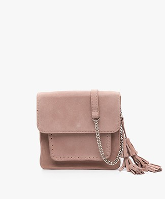 Indi & Cold Suede Shoulder Bag - Nude