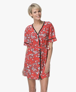 Rag & Bone Zac Printed Silk Tunic Dress - Red Garden Floral