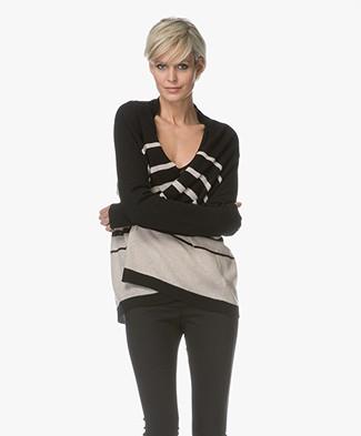 Repeat Cashmere Striped Open Cardigan - Black/Beige