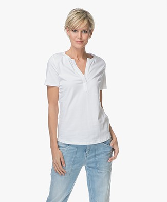 Repeat Split V-neck T-shirt - White