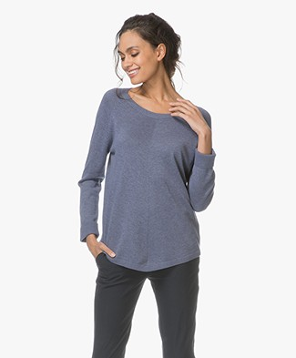 Repeat Round Neck Pullover in Cotton Blend - Night