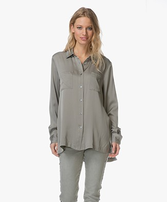 Repeat Silk Shirt - Light Khaki