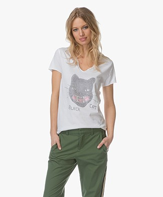 Zadig & Voltaire Tunisien Strass Black Cat T-shirt - Wit