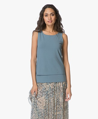 no man's land Crepe Jersey Top - Eucalyptus