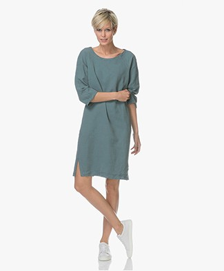 no man's land Shift Dress in Linen Blend - Eucalyptus
