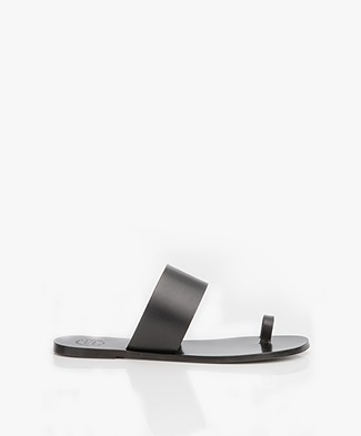 ATP Atelier Astrid Leather Toe Slipper Sandals - Black