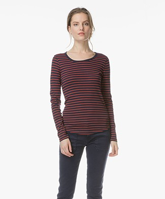 Closed Striped Long Sleeve - Navy