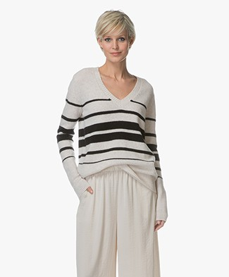 Repeat Cashmere Striped Pullover - Beige/Black