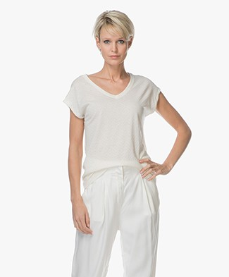 BY-BAR Joanna Weave V-hals T-shirt - Off-white