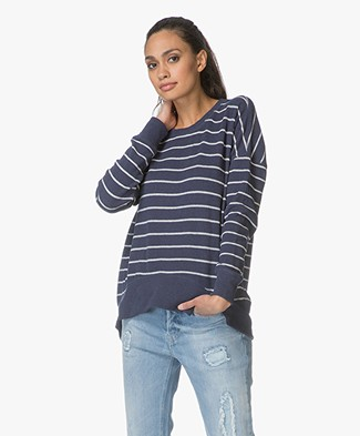 Denham Captain Striped Fleece Sweater - Dark Blue