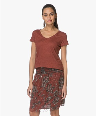 MKT Studio Talip Linen T-shirt with Embroidered Details - Burgundy
