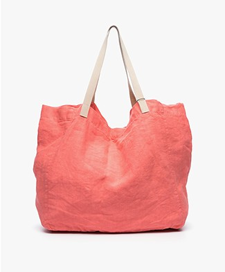 indi & cold Linen Shopper - Coral