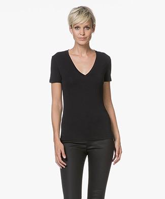 Drykorn Linara V-neck T-shirt - Black