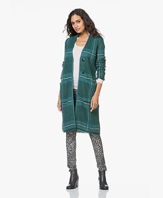 Kyra & Ko Iris Mohair Blend Jacquard Checked Cardigan - Turquoise