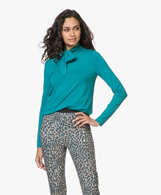 Kyra & Ko Lotte Jersey Tie Neck Long Sleeve - Turquoise