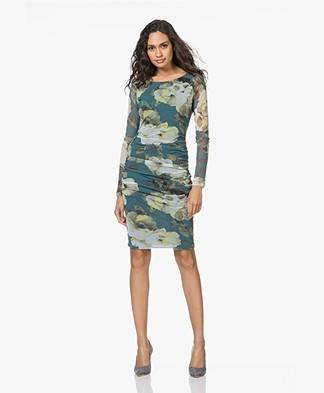 Kyra & Ko Noor Mesh Printed Dress - Turquoise
