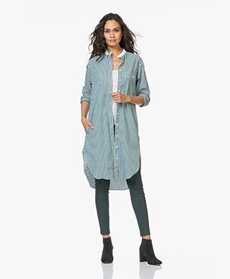 Closed Striped Poplin Shirt Dress - Basil