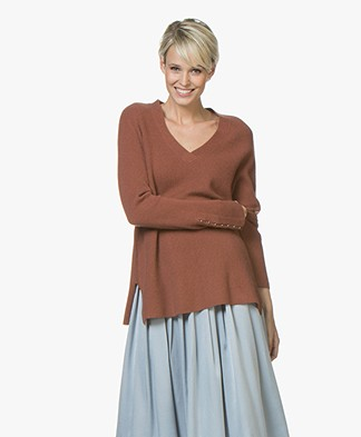Repeat Cashmere Blend V-neck Sweater - Brick