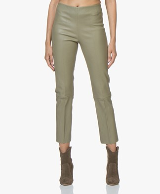By Malene Birger Florentina Leather Pants - Granite Green
