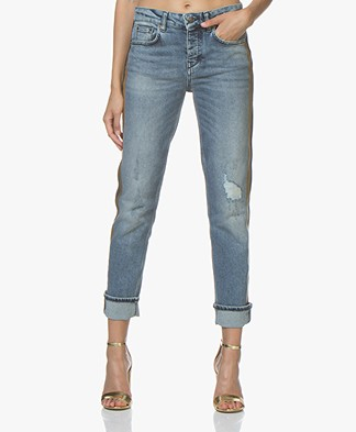 Drykorn Free Jeans with Contrasting Stripe and Trimmings - Blue