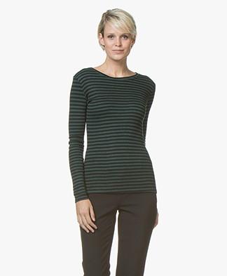 BY-BAR Basic Striped Viscose-Wool Long Sleeve - Dark Green/Black