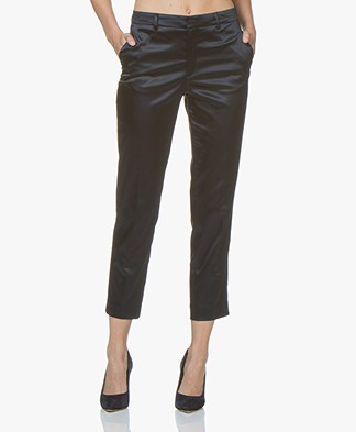 Filippa K Emma Cropped Satin Broek - Navy