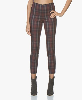 Rag & Bone Simone Checkered Slim-fit Pants - Burgundy