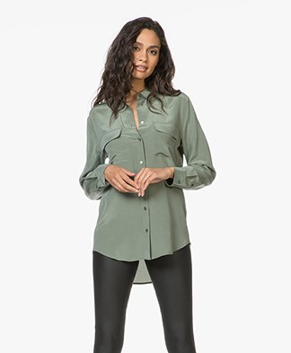 Equipment Signature Washed-silk Blouse - Camouflage