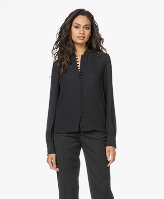 Filippa K Sheer Button Blouse - Black