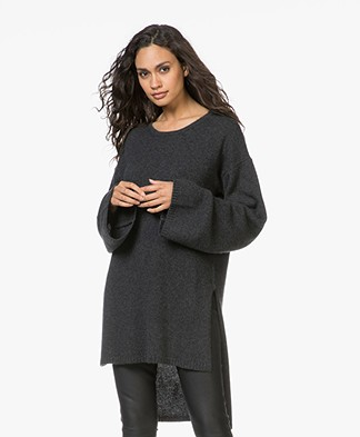 Fine Edge Cashmere Tunic Sweater - Phantom