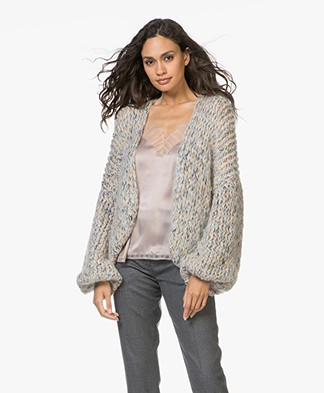 Kiro By Kim Chunky Knit Mohair Blend Cardigan - Sand/Multi
