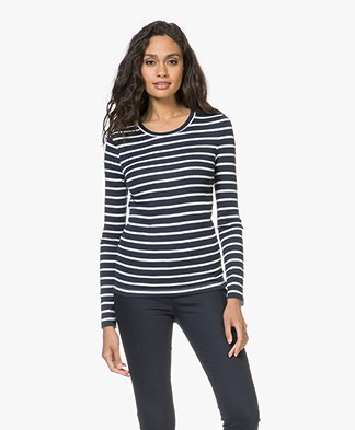 Petit Bateau Striped Cotton Long Sleeve - Smoking/Marshmallow