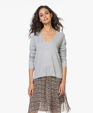 Sibin/Linnebjerg Nicole Cashmere Blend V-neck Pullover - Light Grey