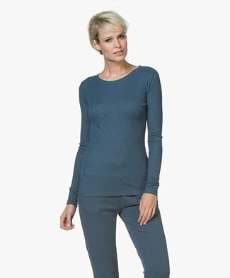 BY-BAR Basic Long Sleeve T-shirt - Petrol Blue
