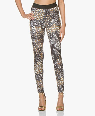 Kyra & Ko Ava Scuba Jersey Slim-fit Printed Pants - Granite