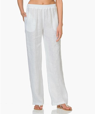 LaSalle Linen Wide Leg Pants - White