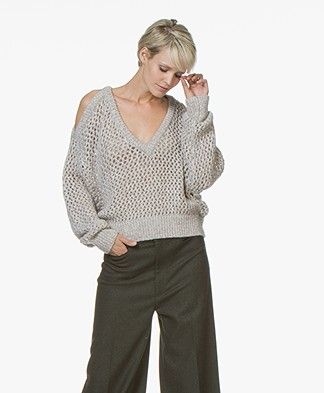 IRO Like Lattice Knit Sweater - Mixed Taupe
