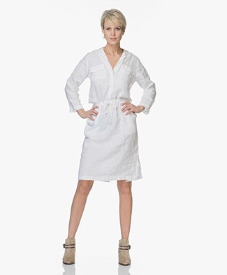 PB X LaSalle Linnen Dress with Drawstring - White
