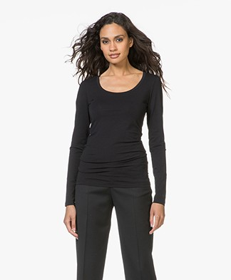 Drykorn T-shirt Selima with Round Neck - Black
