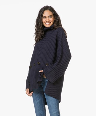Joseph Poncho Soft Wool Pullover - Navy