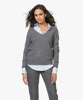 Repeat Cashmere V-Neck Pullover - Medium Grey