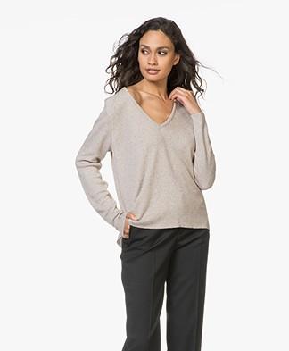 Sibin/Linnebjerg Nicole Cashmere Blend V-neck Pullover - Sand