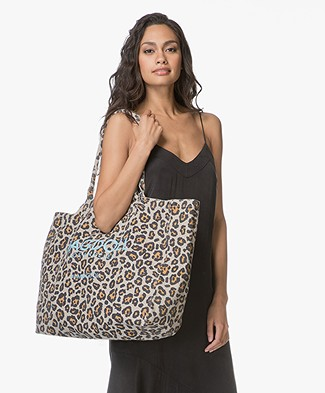 Ragdoll LA Holiday Bag in Cotton Canvas - Beige Leopard