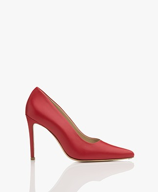 Feraggio Smooth Leather Pumps - Red